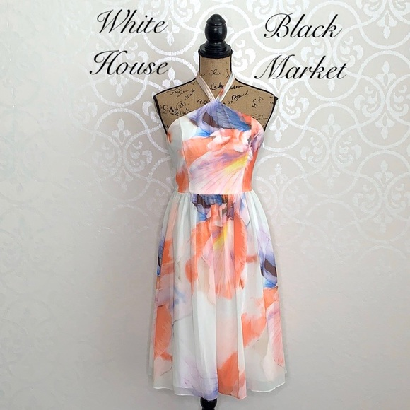 White House Black Market Dresses & Skirts - WHITE HOUSE BLACK MARKET CHIFFON HALTER DRESS
